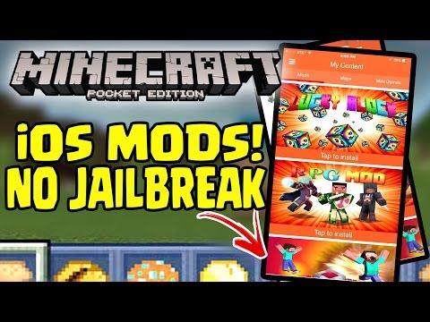 Minecraft PE iOS MODS (NO JAILBREAK) iPHONE GAMEPLAY!!  //
