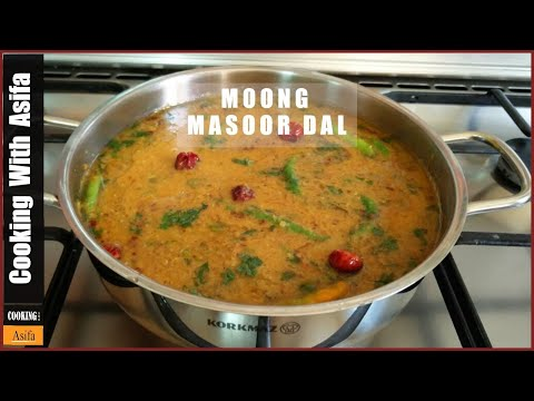 Moong Masoor Dal Recipe | Restaurant Style Tadka Dal Fry by (COOKING WITH ASIFA) HD video