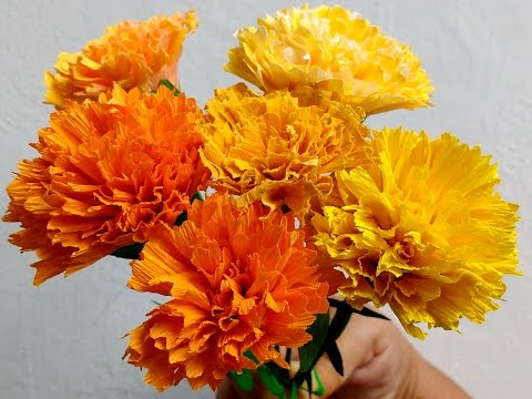 How to make Paper Flowers Marigold / Genda Phool (Flower # 73)