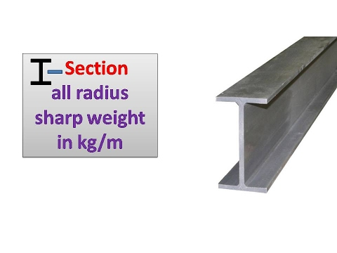 I Section  all radius sharp weight in kg/m
