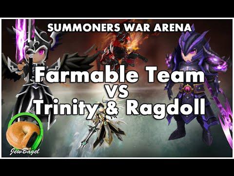 SUMMONERS WAR : Arena Farmable Team VS Ragdoll & Trinity (dark dragon knight & valkyrja)