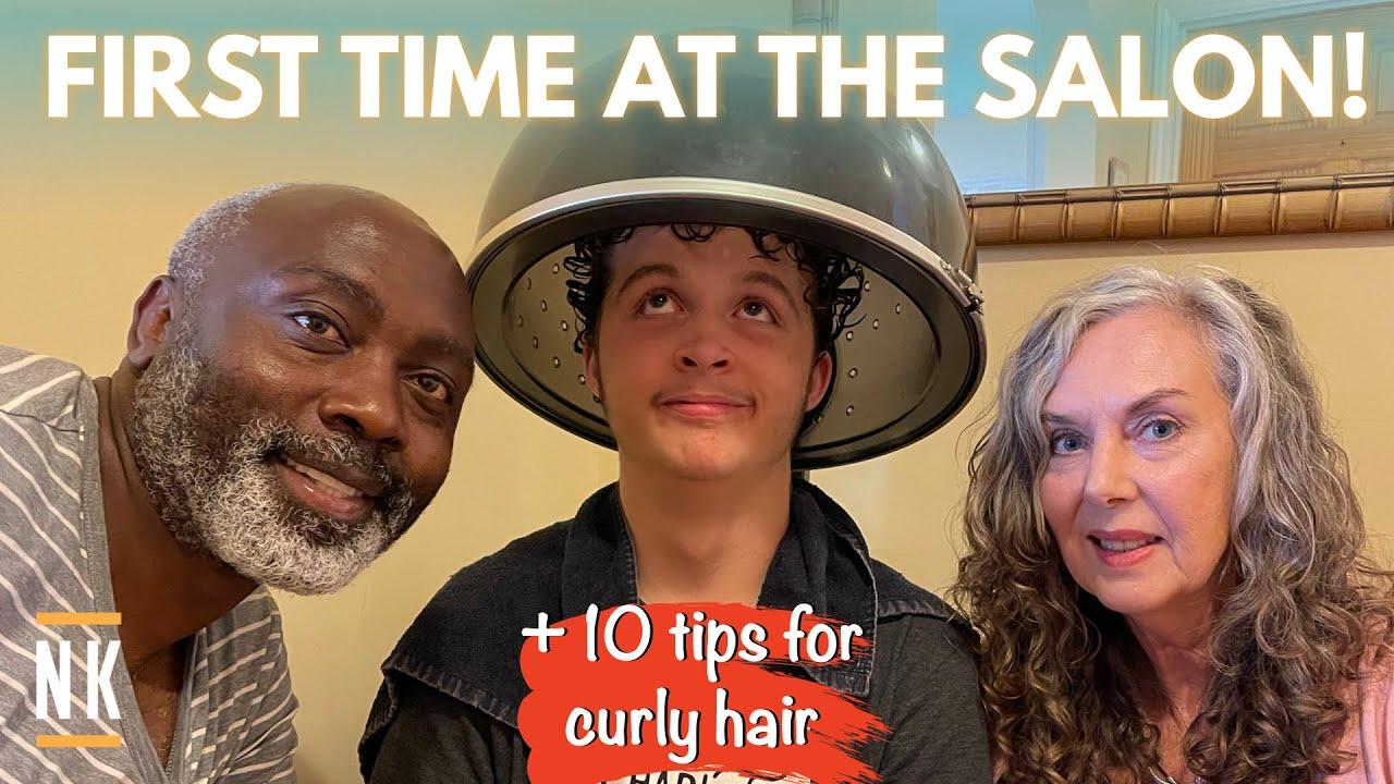 MY TEEN'S FIRST SALON HAIRCUT EVER!   CURLY HAIR TIPS