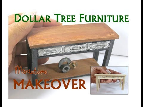 Dollar Tree to Luxury Miniature Furniture Makeover DIY Industrial Console Table