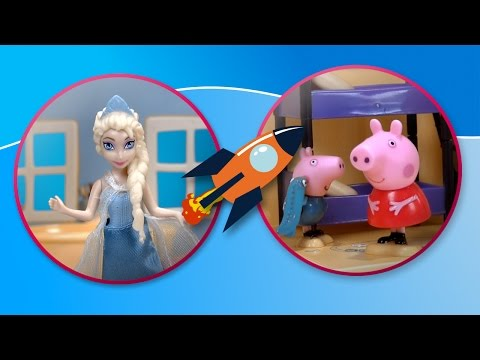 Frozen visits Peppa Pig´s house