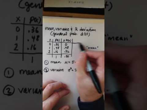 Mean, variance, and standard deviation (General Probability Distribution)