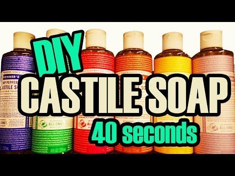 DIY DR.  BRONNER'S LIQUID CASTILE SOAP RECIPE in 40 SECONDS