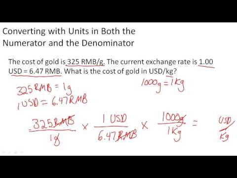 Converting with units in both the numerator and denominator