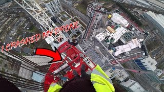 SNEAKING BY SLEEPING SECURITY TO CLIMB CRANE! *I crashed my drone*
