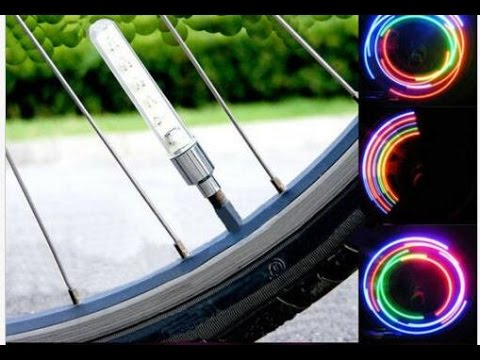 Bike Bicycle Wheel Tire Valve Spoke 32 changes Neon Cap 5 LED Lights Lamp XIE SHENG