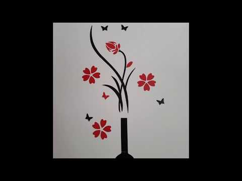 DIY Vase Flower Tree Crystal Arcylic 3D Wall Stickers Decal Home Livingroom Decoration