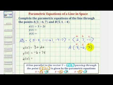 Ex: Find the Parametric Equations of a Line in Space Given Two Points on the Line