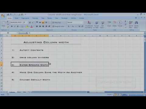 Excel Column Width Tutorial