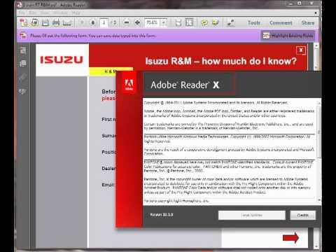 PDF Form in Reader X