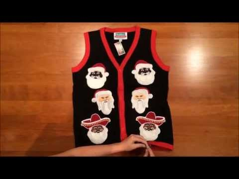 Festified Lighted Multi-cultured Santa Ugly Sweater Vest in Black