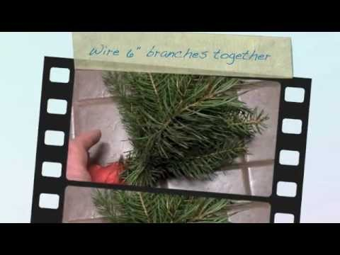 Making a Christmas fir wreath
