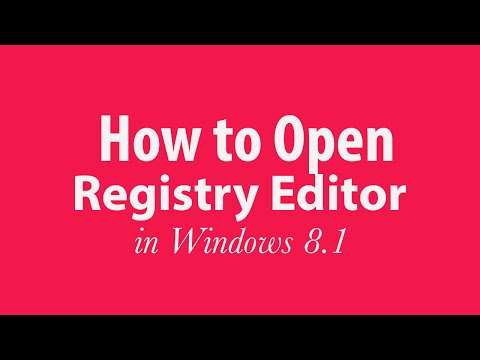 How to open your Registry Editor in Windows 8/8.1