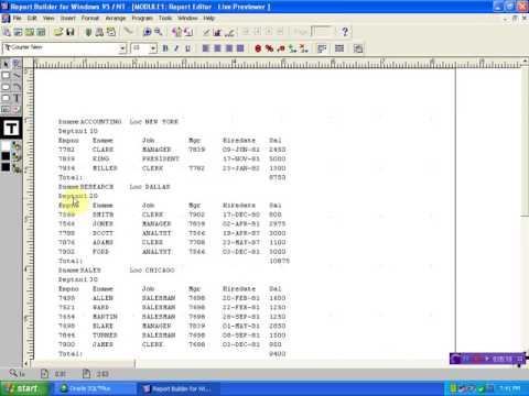 Tow Queries Report in oracle