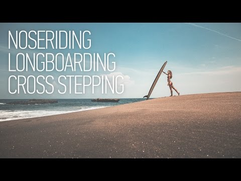 Noseriding Surfing Girl on Bali. Longboarding Cross Step