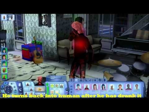The Sims 3 Late Night: Vampire Ghost drinking Vampirsm Cure