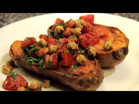 Baked Sweet Potato with Tomatoes and Chickpeas