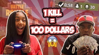 Download 1 KILL = $100 w/ MY 14 YEAR OLD SISTER - Fortnite Challenge (CRAZY REACTION) Video