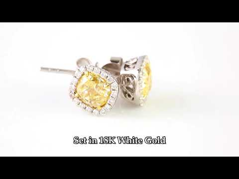 1 52 Carat Cushion Yellow Diamond Studs