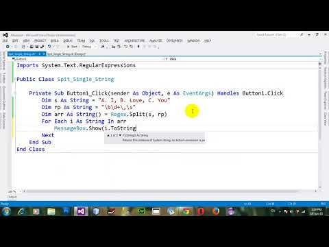 How to split single string into array of the strings through Regular expression in VB NET 2012