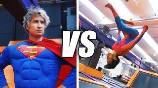 SPIDERMAN vs SUPERMAN Trampolin Challenge | Julien Bam & Gong Bao