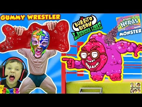 GUMMY WRESTLER Fights GIANT GUMMY BEAR & Kid Eats It!  Nerds Monster Battle (FGTEEV Launcha Libre)