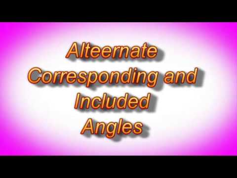 Alternate Corresponding and Included Angles  Parllel intercept properties. Dr  Dawes Video Tutor