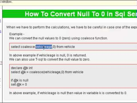 How to convert null to 0 in sql server