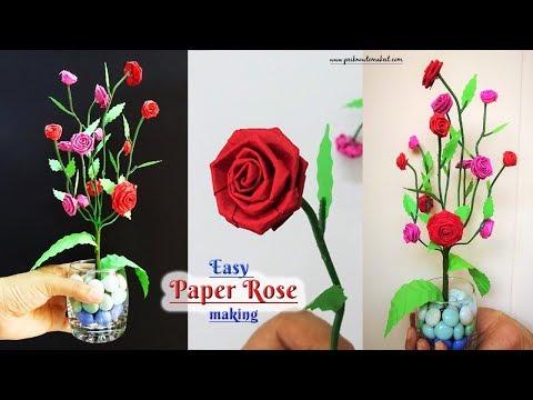 How to make #paperRose 🌹🌹, Spring room decor, Diy crafts for holiday