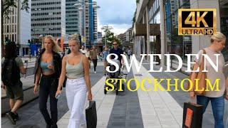 Stockholm in 4K - Walking Tour - Promenade dans la Rue - 2021 August  - Sweden