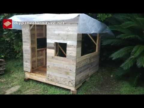 How to make a playhouse with pallets for kids step by step