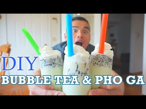 BUBBLE TEA & PHO GA RECIPE | MUKBANG | DIY | QT