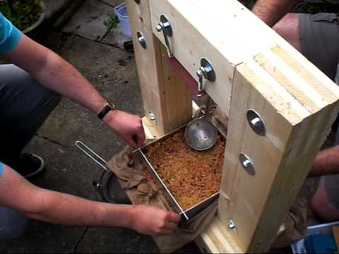Pressing Apples with my home-built cider press