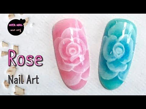 Rose  Flower Nail Art (gel nails)