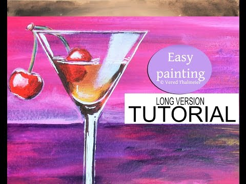 How to paint a Cocktail Glass at Sunset - Acrylic tutorial for beginners step by step / Cherry