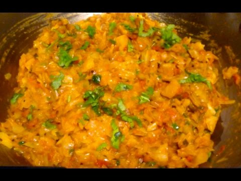 Cabbage Tomato Curry- Indian Curry for Chapati, Puri, Pulka