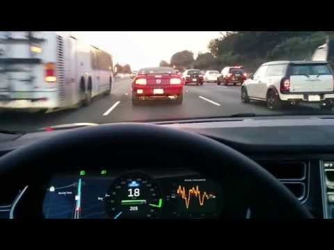 Tesla Model S's Traffic-Aware Cruise Control in stop-and-go traffic