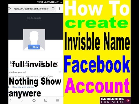 how to create invisible name facebook account
