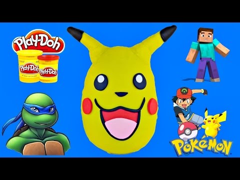 GIANT Pokémon GO Pikachu Play Doh Surprise Egg|  MineCraft Teenage Mutant Ninja Turtles LEGO