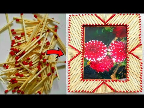How to make photo frame | matchstick and cardboard diy photo frame | reuse matchstick art.