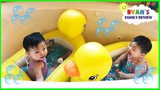 Twin Babies Night Routine Bedtime! Family Fun Kids Playground with Ryan