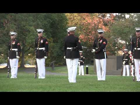 US Marine Corps Silent Drill Platoon Performs at Sunset Parade at Iwo Jima Memorial!