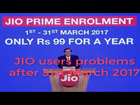 After 31st Of March Problems of JIO users....
