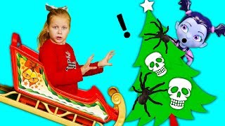 The Assistant Helps Santa find the Perfect Tree with PJ Masks + Vampirina + Coco Toy Parody