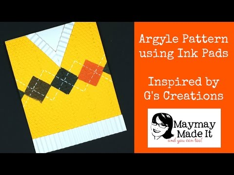 Argyle Pattern Sweater Vest Card Made With One Inch Ink Pads