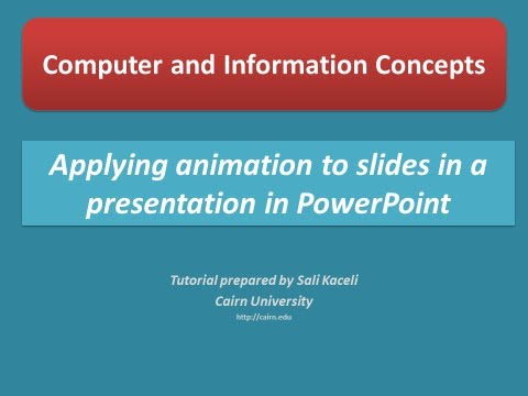 Applying animation to slides in a presentation (PowerPoint 2010)