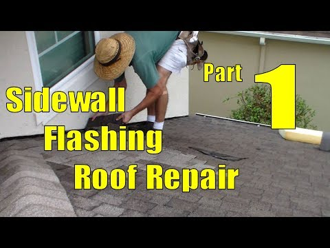 Asphalt Shingle Sidewall Flashing Repair 1 of 3 Removing Shingles